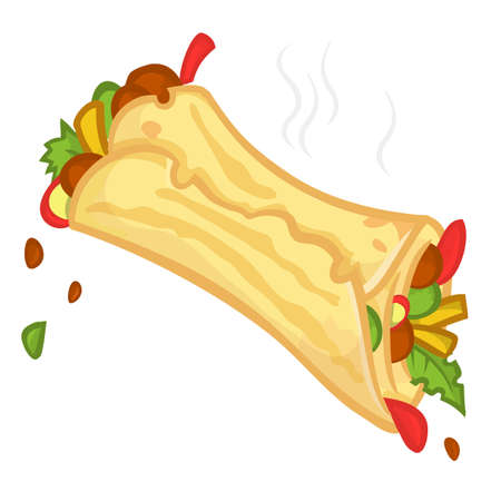 Cartoon falafel icon. Vector illustration of falafel roll. Isolated
