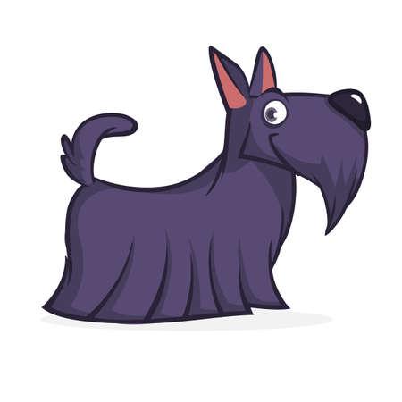 Cute cartoon scottish terrier. Vector black Scottie dog