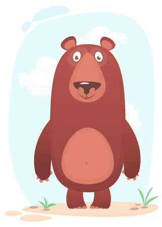 Cartoon funny bear standing on nature background