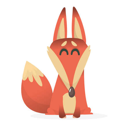 Cartoon fox character. Vector illustration of fox isolated 向量圖像