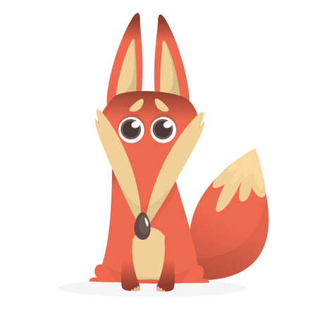 Cartoon red fox. Vector illustration of red smiling fox icon. Design for t-shirt, mug, bag lunchbox, wallpaper, wrapper, poster and banner design for kids 向量圖像