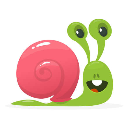 Vector illustration of cute snail cartoon