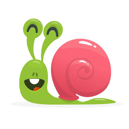 Illustration vectorielle de dessin animé mignon escargot