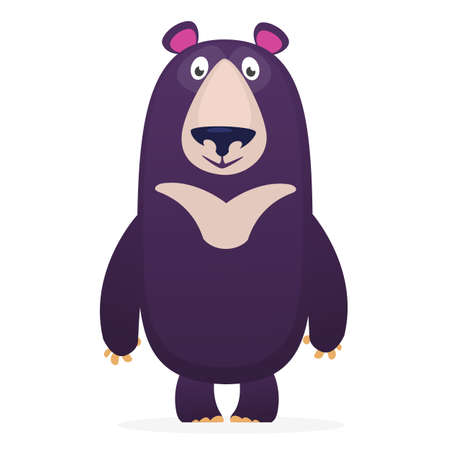 Happy cartoon bear. Vector illustration of  bear isolated.