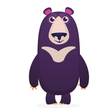 Cute bear toy Flat icon Vector illustration