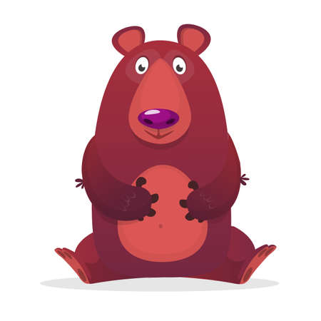 Surprised by a brown bear, vector illustration Illustration