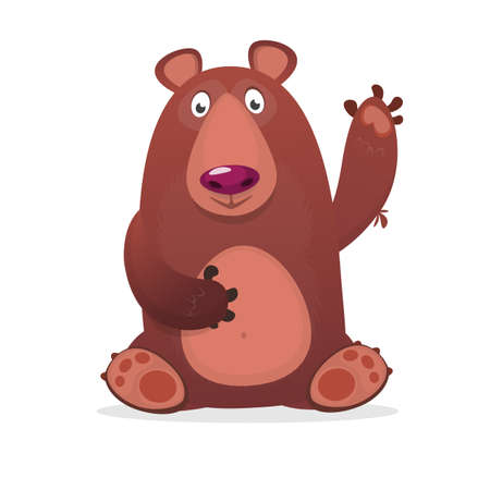 Happy cartoon bear. Vector clip art illustration of brown bear isolated. Illustration