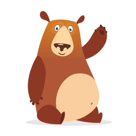 Cute cartoon bear character. Vector illustration of a bear waving hand. Isolated on white