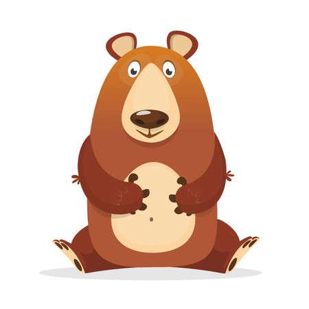 Funny cartoon brown bear. Vector illustration