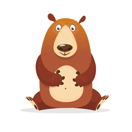 Funny cartoon bear. Vector illustration