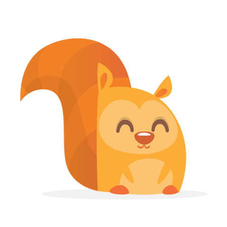 Cute cartoon squirrel smiling. Vector illustration.