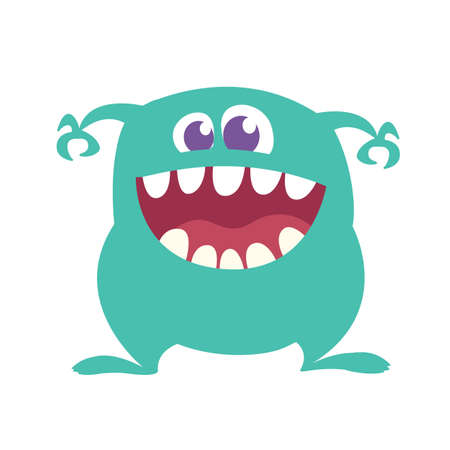Cartoon Happy Monster With Big Mouth Laughing . Vector illustration of blue monster character. Halloween design