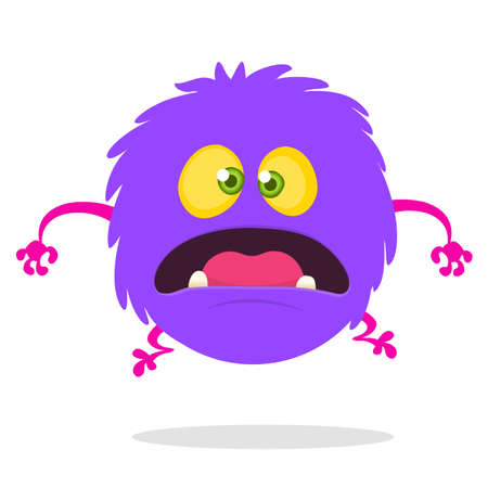 Cartoon Happy surprised Monster. Vector illustration of purple monster character. Halloween design