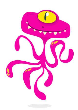 Cute cartoon monster alien or octopus. Vector illustration of pink monster