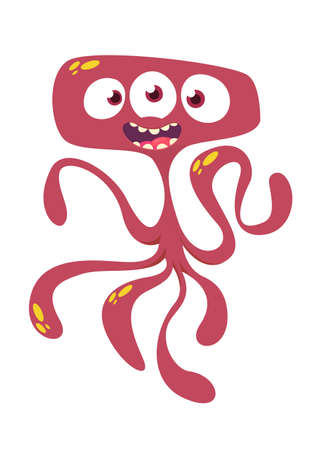 Cute cartoon monster alien or octopus. Vector illustration of red monster