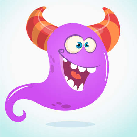 Happy cartoon monster or ghost. Vector  Halloween illustration of purple ghost