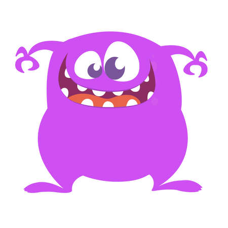 Happy and cute cartoon monster. Vector illustration for Halloween Stock Vector - 122927060