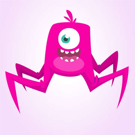 Happy and cute cartoon monster. Vector illustration for Halloween