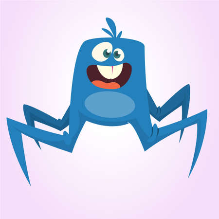 Cute cartoon spider monster. Vector illustration
