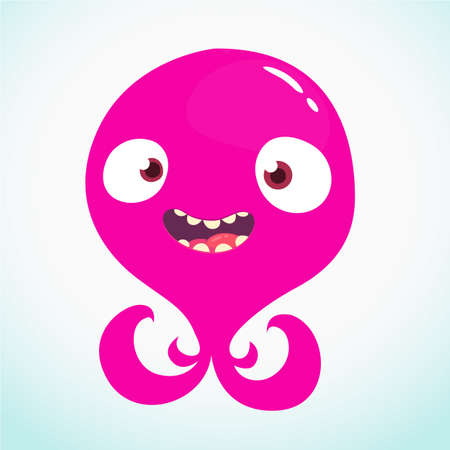 Cute cartoon alien monster or octopus. Vector illustration Иллюстрация