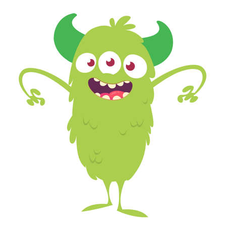 Happy and cute cartoon monster. Vector illustration for Halloween Stock Vector - 121850217