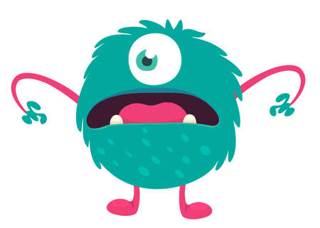 Cute cartoon furry colorful monster. Vector illustration
