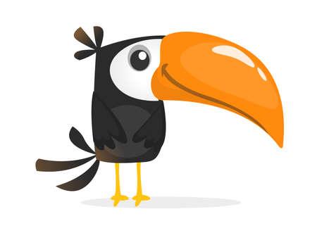 Bande dessinée drôle de toucan. Illustration d'oiseau de vecteur Vecteurs