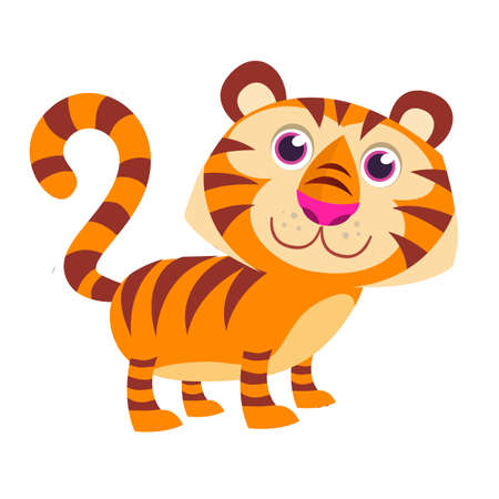 Pretty cute cartoon tiger vector illustration. Isolated on White background. Flat design. Vector Illustration