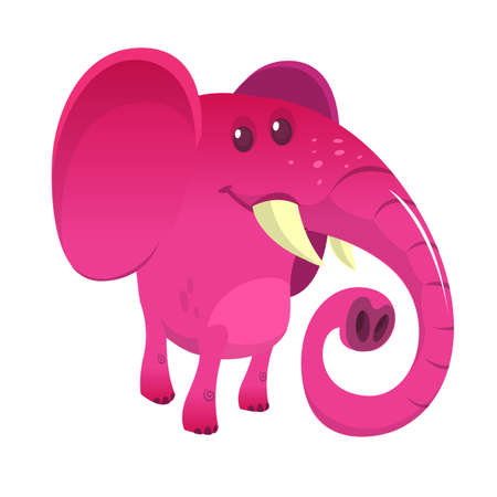 Pretty cartoon pink elephant. Vector illustration isolated