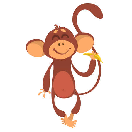 Cute monkey chimpanzee in fun cartoon style holding banana. Vector illustration  Çizim