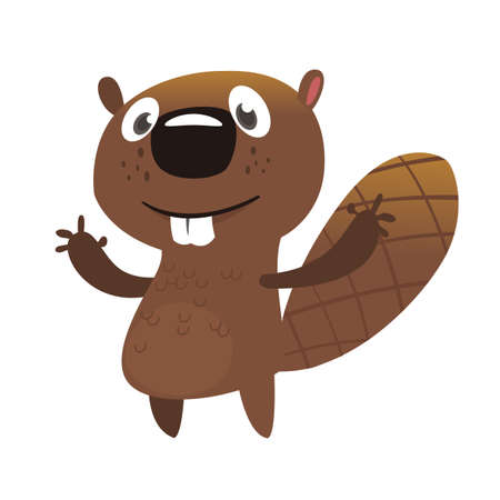 Castor de dessin animé excité agitant avec ses mains. Mascotte de castor marron. Illustration vectorielle