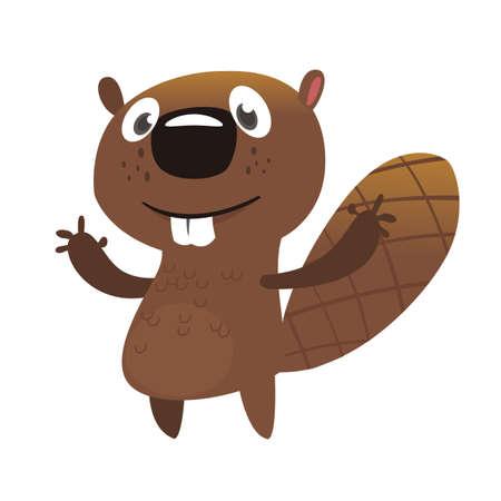 Castor de dibujos animados emocionado saludando con las manos. Mascota del castor marrón. Ilustración vectorial