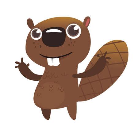 Castor de divertidos dibujos animados. Vector icono ilustrado de un castor