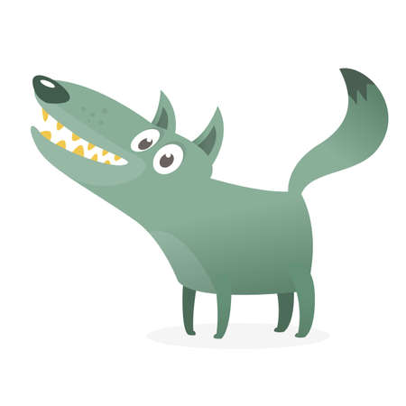 Cute cartoon wolf character. Wild forest animal collection. Vector wolf  illustration Stock fotó - 125007635