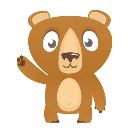 Happy cartoon bear. Vector illustration of brown bear isolated.  イラスト・ベクター素材