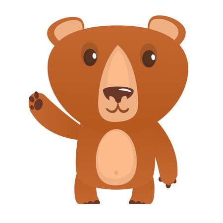 Funny cartoon bear. Vector illustration. Flat design