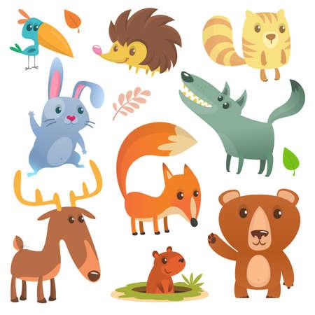 Cartoon forest animal. Wild cartoon cute animals flat vector illustration design. Squirrel, hedgehog, hamster, wolf, fox, toucan bird, bear, deer