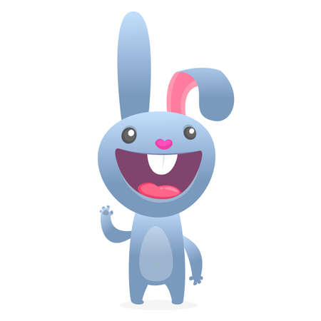 Cartoon Rabbit Character. Vector flat illustration of cute bunny. Easter design. Isolated on white