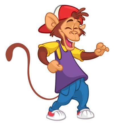 Cartoon monkey dancing. Vector illustration. Chimpanzee dancer