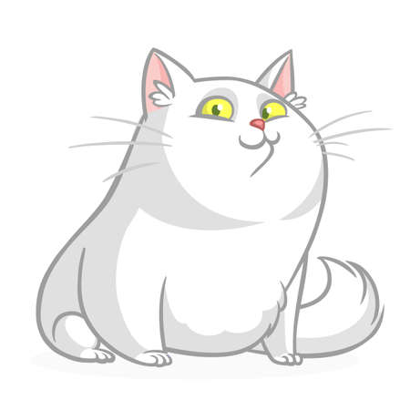 Cartoon pretty white fat cat sitting. Fat  cat illustration isolated Иллюстрация