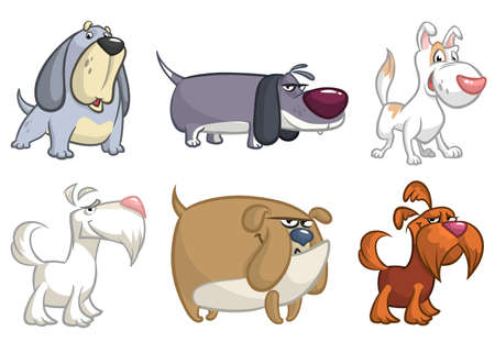 Cartoon funny dogs set illustrations