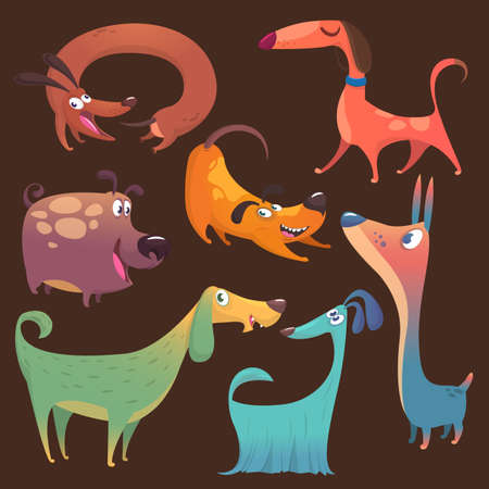 Cartoon funny dogs set. Vector illustrations