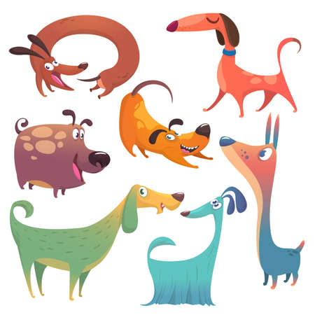 Cartoon dogs set. Vector illustrations of dogs  isolated