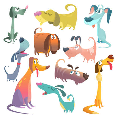 Cartoon dogs set. Vector illustrations of dogs.  Retriever, dachshund, terrier, pitbull, spaniel, bulldog, basset hound, afghan hound, borzoi