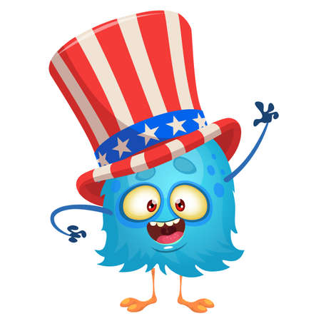 Amusing fluffy  blue cartoon monster wearing Uncle Sam hat. Design character for  Independence Day. Vector illustration for print or decoration