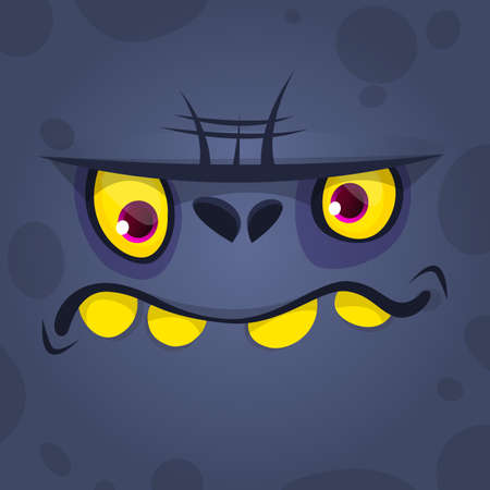Cool Cartoon Scary Black Monster Face. Vector Halloween illustration. Design for print, children book,  party decoration or square avatar