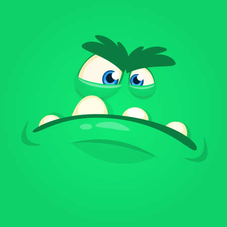 Angry cartoon monster face  avatar. Vector Halloween green monster. Design for print, t-shirt, party decoration, sticker or children book illustration
