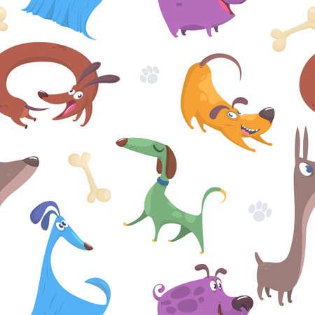 Nahtloses Muster mit den netten und lustigen Karikaturhundewelpen lokalisiert auf weißem Hintergrund. Perfekt für Kinderbekleidung, Stoffe, Textilien, Kinderzimmerdekoration, Geschenkpapier