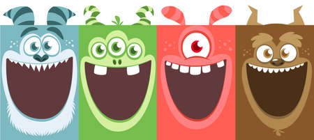 Cartoon monsters set. Vector illustration of different monsters expressions. Halloween design