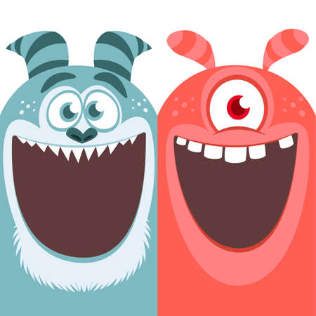 Red and blue monsters. Halloween vector illustration Çizim